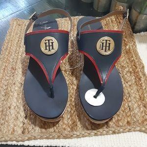 Shoes - Tommy Hilfiger women's cork wedge Navy sandals